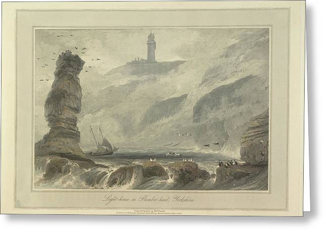 Lighthouse On Flambro-head Greeting Card by British Library