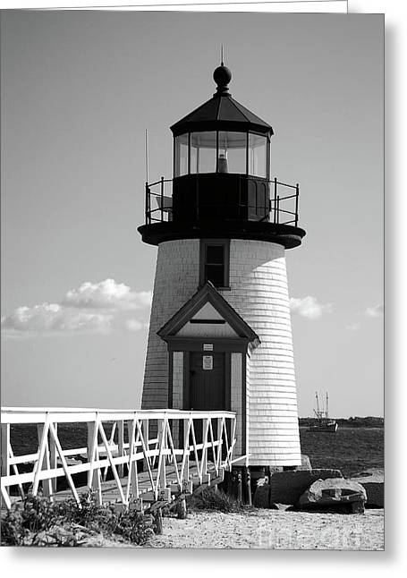 Lighthouse On Nantucket Bw Greeting Card