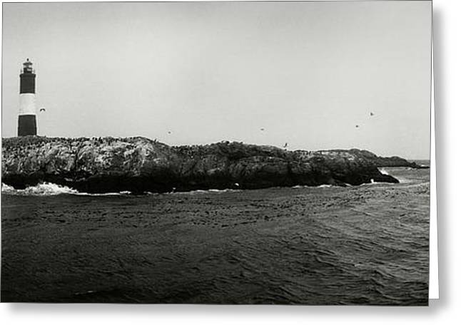 Lighthouse On Small Island In Sea, Les Greeting Card by Panoramic Images