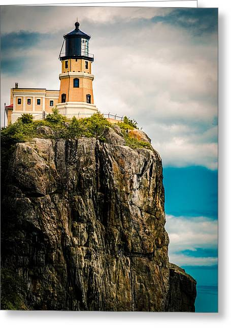 Greeting Card featuring the photograph Lighthouse On Split Rock by Mark David Zahn Photography