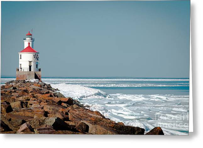 Greeting Card featuring the photograph Lighthouse On Stone And Ice by Mark David Zahn Photography
