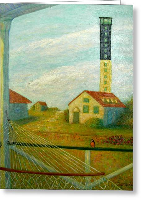 Greeting Card featuring the painting Lighthouse On Sullivan's Island by Jeanne Kay Juhos