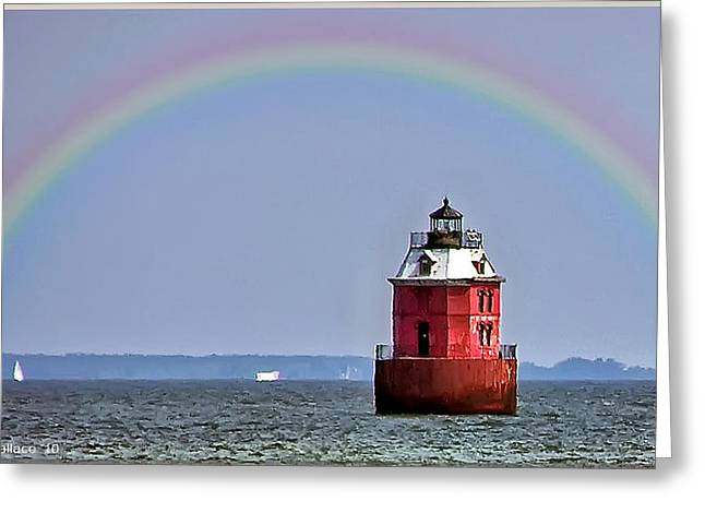Lighthouse On The Bay Greeting Card by Brian Wallace
