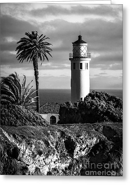 Greeting Card featuring the photograph Lighthouse On The Bluff by Jerry Cowart