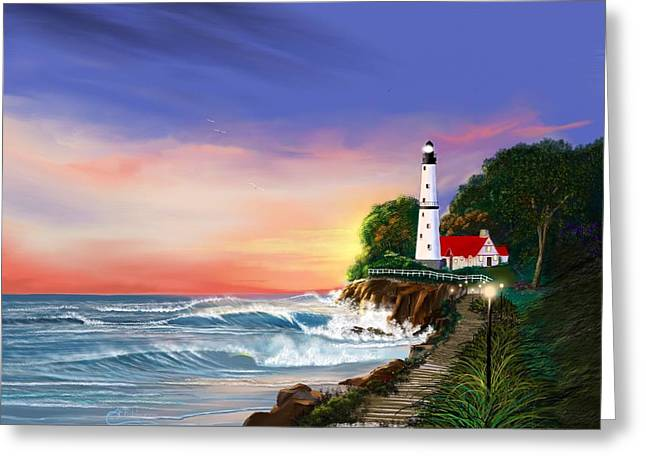 Lighthouse On The Cliff Greeting Card by Anthony Fishburne