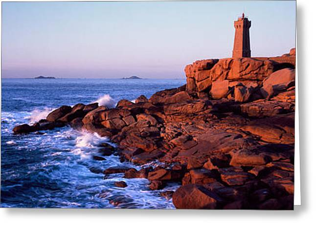 Lighthouse On The Coast, Ploumanach Greeting Card by Panoramic Images