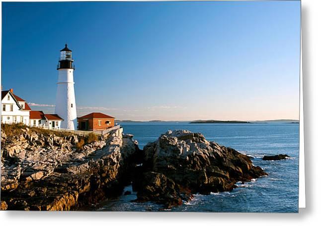 Lighthouse On The Coast, Portland Head Greeting Card