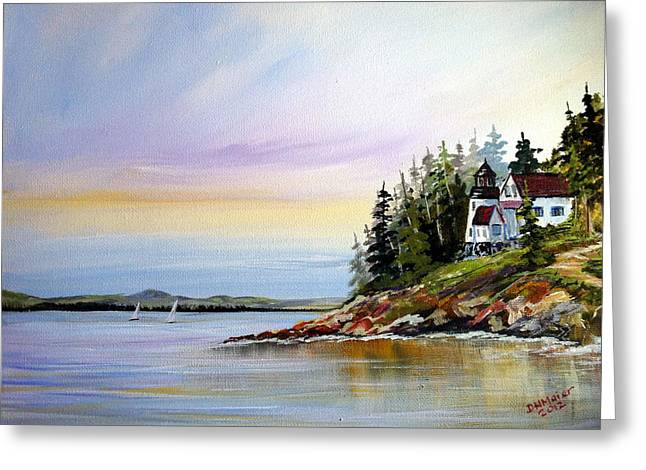 Greeting Card featuring the painting Lighthouse On The Island by Dorothy Maier