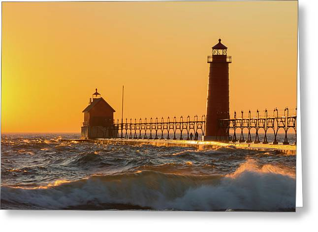 Lighthouse On The Jetty At Dusk, Grand Greeting Card
