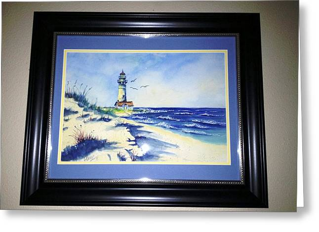 Lighthouse On The Point Sold Greeting Card by Richard Benson