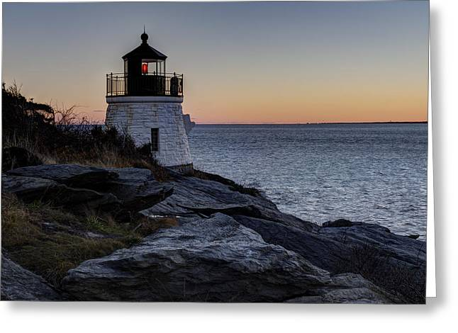 Lighthouse On The Rocks At Castle Hill Greeting Card by Andrew Pacheco