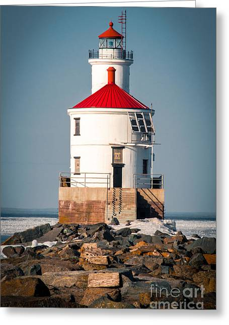 Greeting Card featuring the photograph Lighthouse On The Rocks by Mark David Zahn Photography