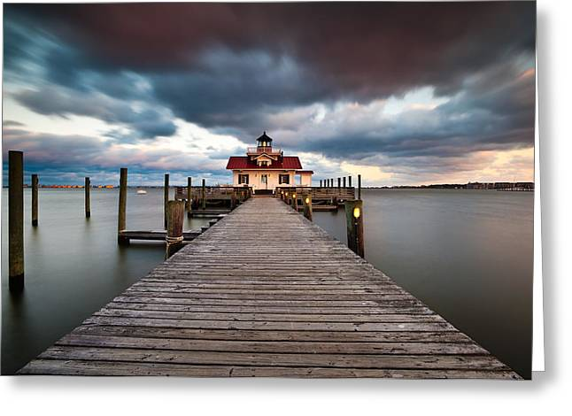 Lighthouse - Outer Banks Nc Manteo Lighthouse Roanoke Marshes Greeting Card by Dave Allen