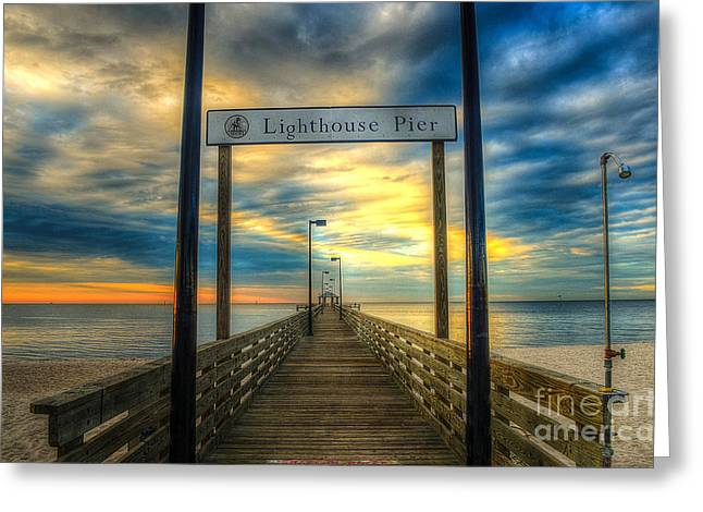 Lighthouse Pier Greeting Card by Maddalena McDonald