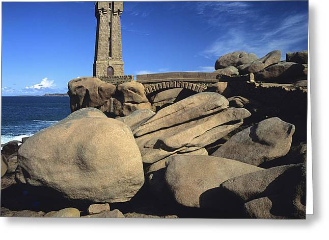Lighthouse Ploumanac'h. Cotes-d'armor. France. Greeting Card by Bernard Jaubert