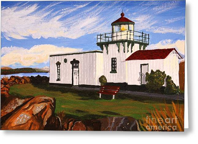 Lighthouse Point No Point Greeting Card by Vicki Maheu