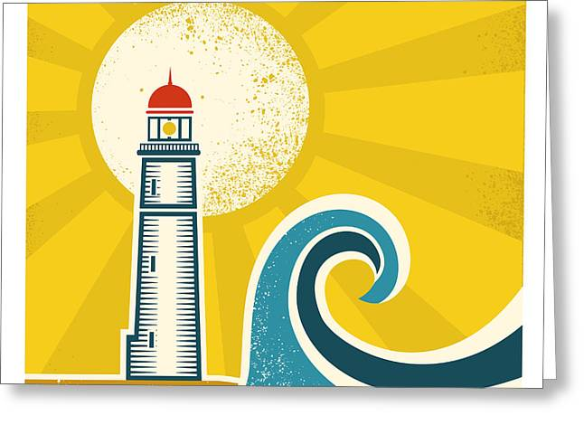 Lighthouse Poster.vector Vintage Greeting Card