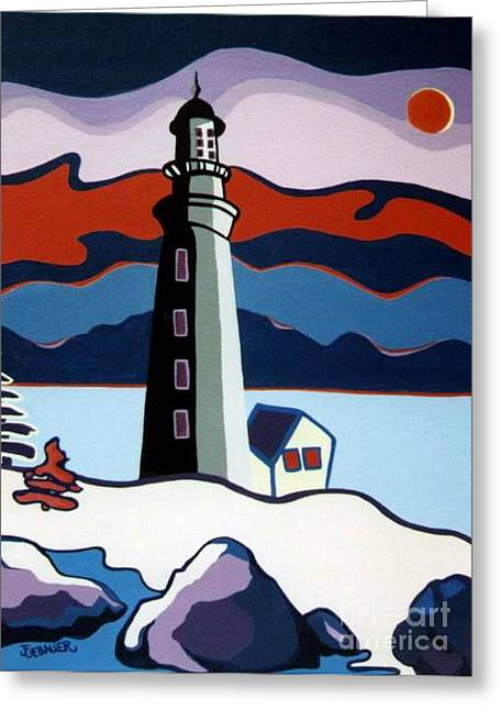 Greeting Card featuring the painting Lighthouse Red Sky by Joyce Gebauer