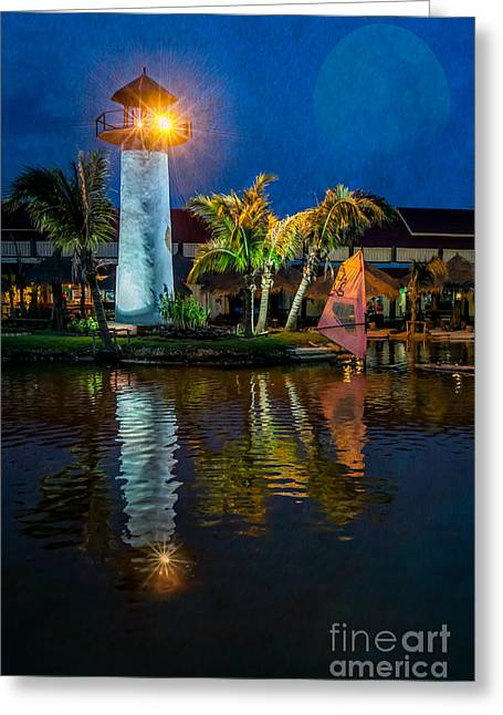 Lighthouse Reflection Greeting Card by Adrian Evans