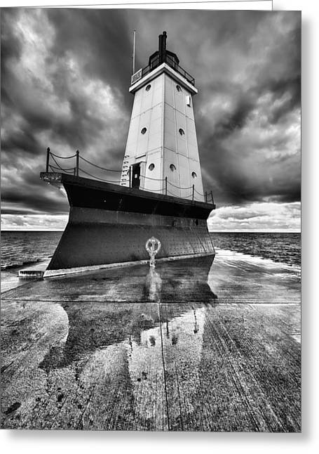 Lighthouse Reflection Black And White Greeting Card by Sebastian Musial
