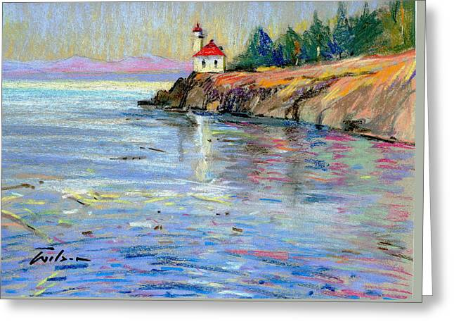 Lighthouse San Juan Island Greeting Card by Ron Wilson
