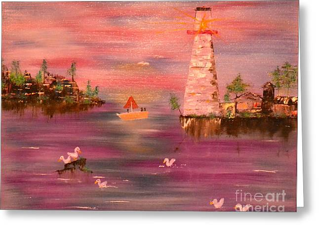 Greeting Card featuring the painting Lighthouse Serenade by Denise Tomasura