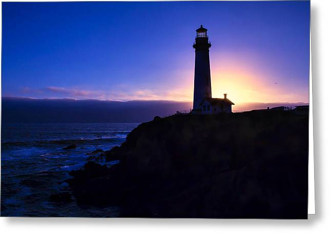 Lighthouse Setting Sun Greeting Card by Garry Gay