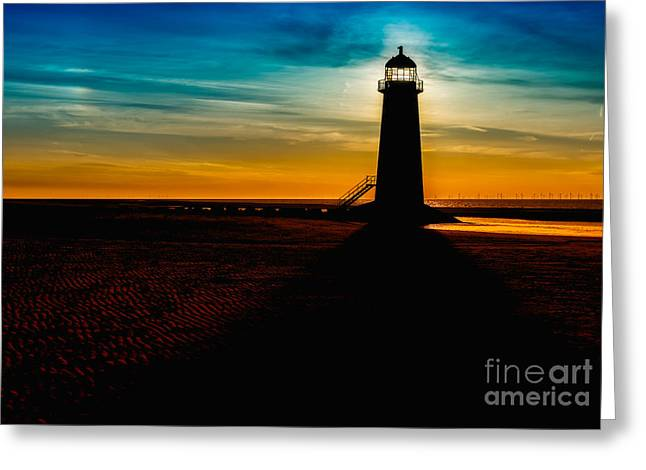 Lighthouse Silhouette Greeting Card by Adrian Evans