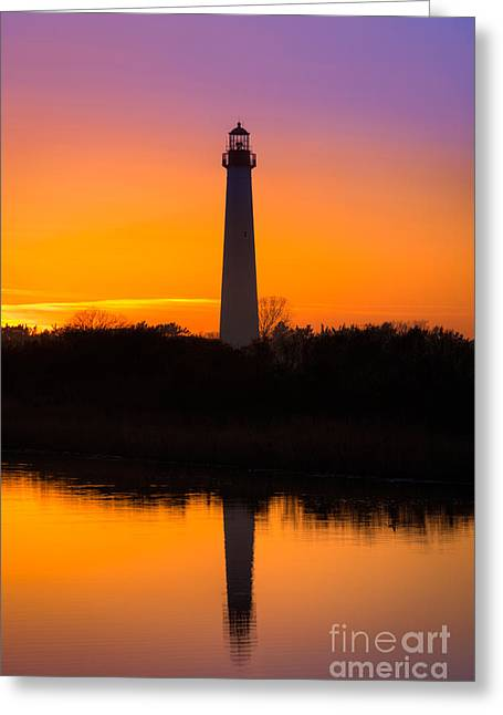 Lighthouse Silhouette Greeting Card by Michael Ver Sprill