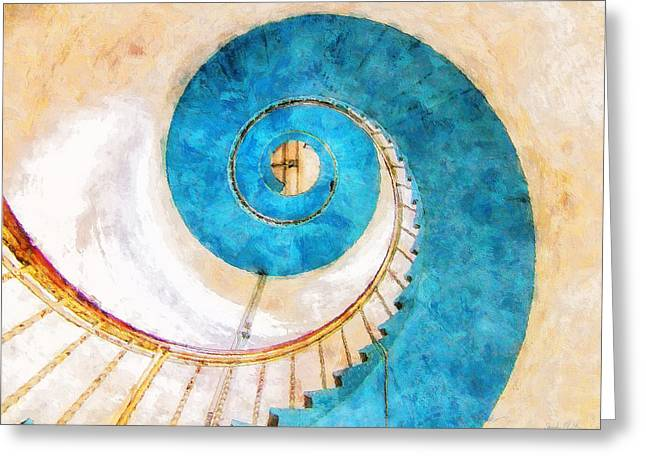 Lighthouse Staircase Greeting Card by Sandy MacGowan