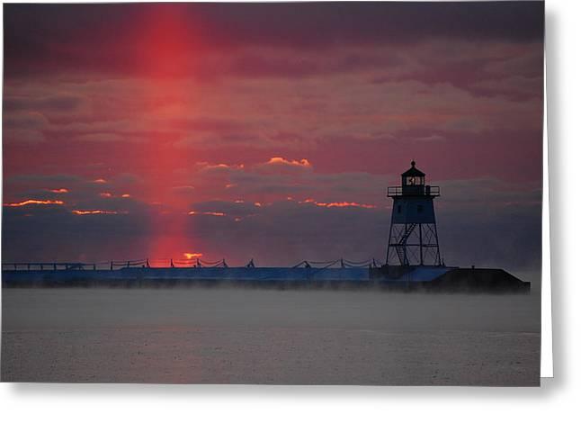 Lighthouse Sun Pillar Greeting Card
