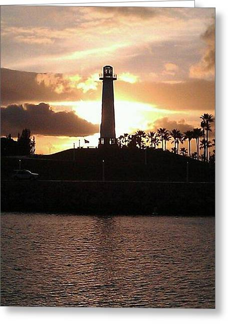 Greeting Card featuring the photograph Lighthouse Sunset by John Glass