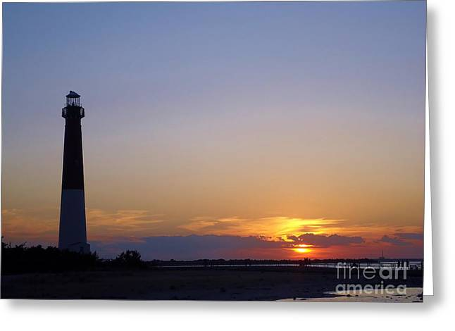 Lighthouse Sunset Greeting Card by Art Dingo