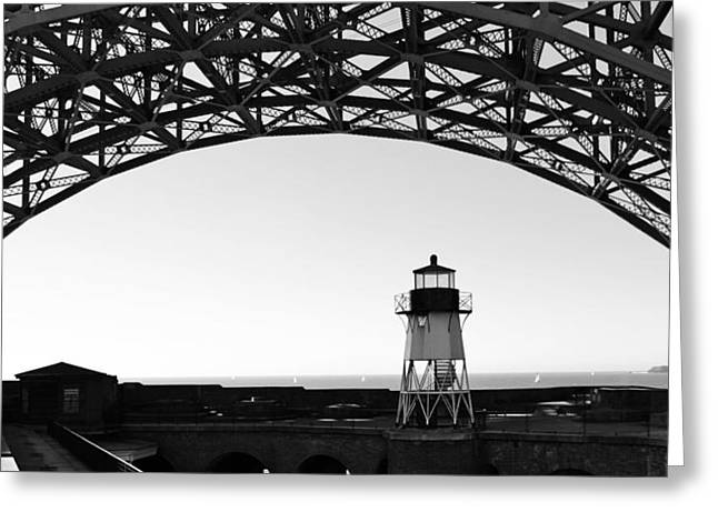 Lighthouse Under Golden Gate Greeting Card by Holly Blunkall