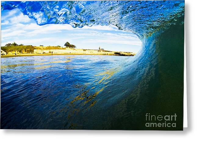 Greeting Card featuring the photograph Lighthouse Wave 1 by Paul Topp