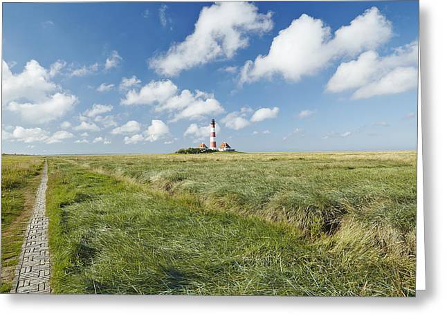 Lighthouse Westerhever And Foreshore Greeting Card by Olaf Schulz