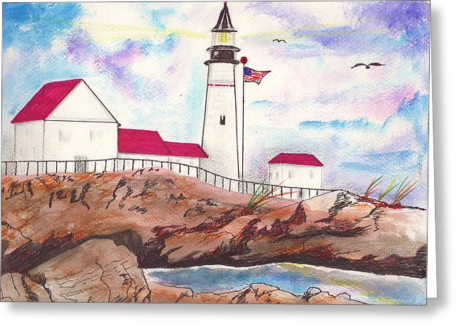 Lighthouse With Colorful Sky Greeting Card by Milton Rogers