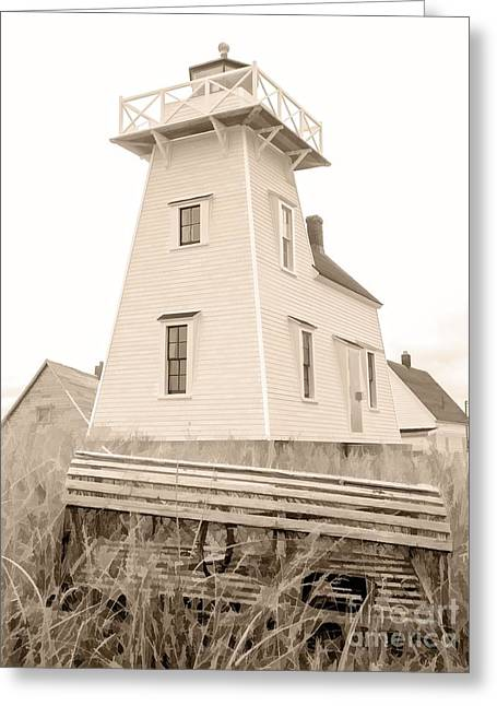 Lighthouse With Lobster Trap Pei Greeting Card by Edward Fielding