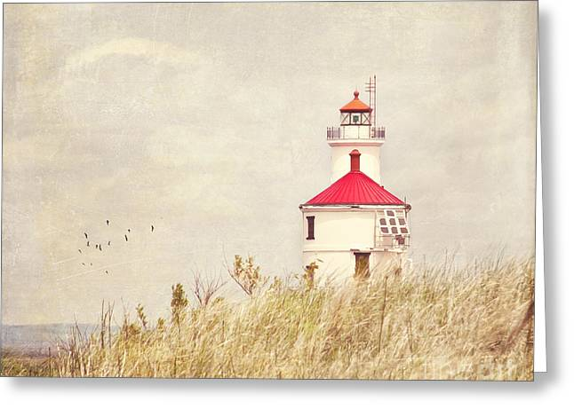 Lighthouse With Red Roof Greeting Card