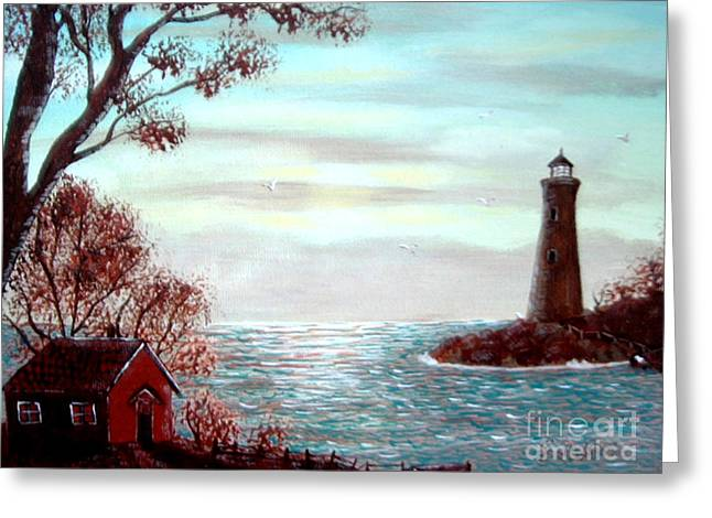 Lighthousekeepers Home Greeting Card by Barbara Griffin