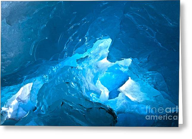 Lighting In Nigardsbreen Glacier Grotto 3 Greeting Card by Heiko Koehrer-Wagner