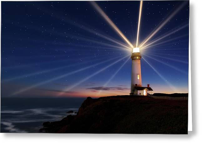 Lighting Of The Lens Greeting Card by Miles Morgan