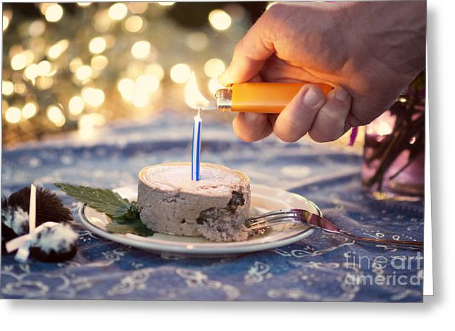 Lighting The Birthday Candle Greeting Card by Juli Scalzi