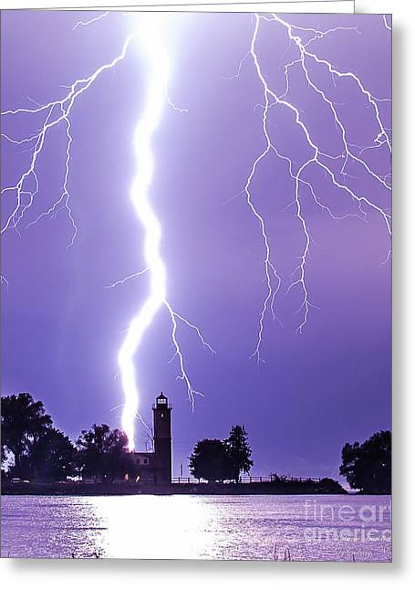 Lighting The Lighthouse Up Greeting Card