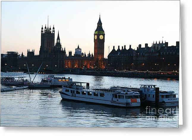 Lighting Up Time On The Thames Greeting Card