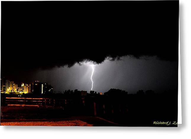 Greeting Card featuring the photograph Lightning 11 by Richard Zentner