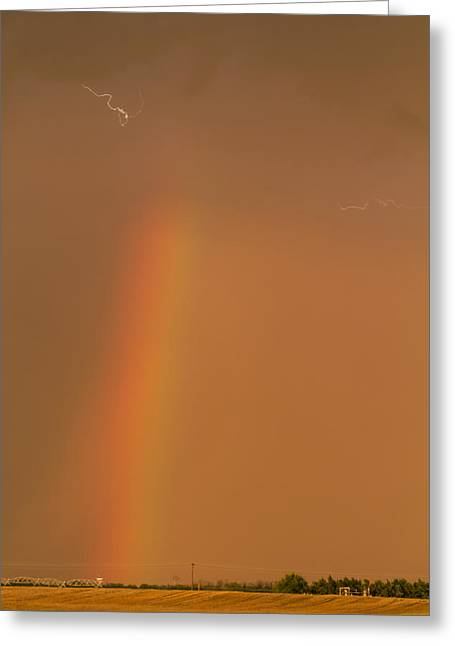 Greeting Card featuring the photograph Lightning And Rainbow by Rob Graham