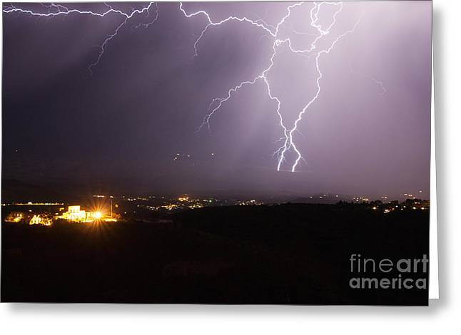 Lightning And The Douglas Mansion In Jerome Arizona Greeting Card