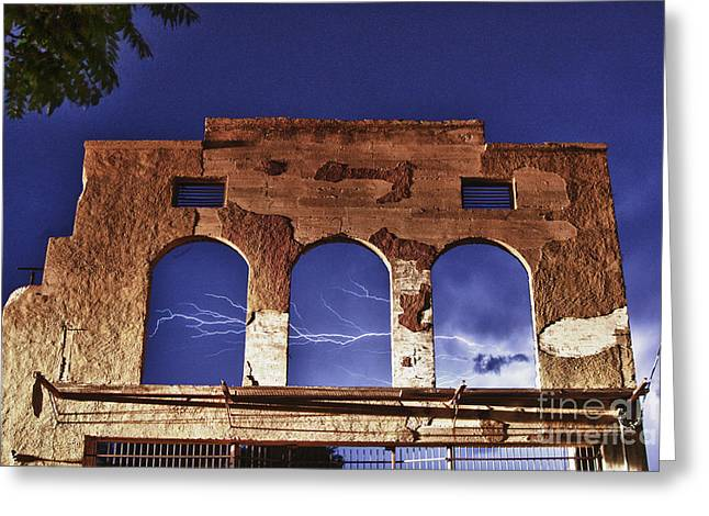 Lightning And The La Victoria Wall In Jerome Arizona Greeting Card
