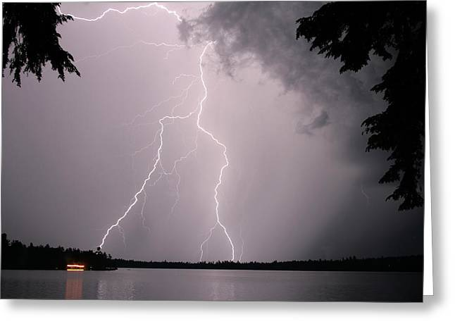 Lightning At The Lake Greeting Card